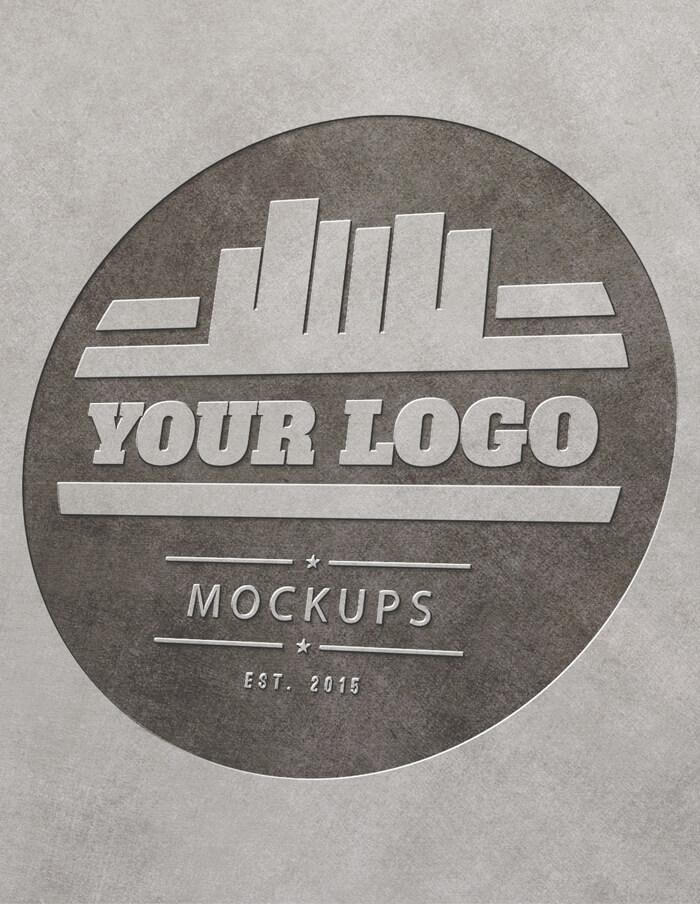 Metal Engraved Logo MockUp