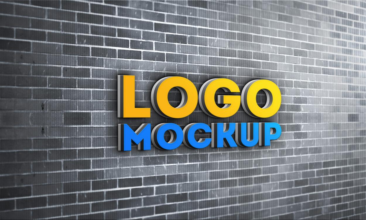 Brick Wall 3D Logo MockUp