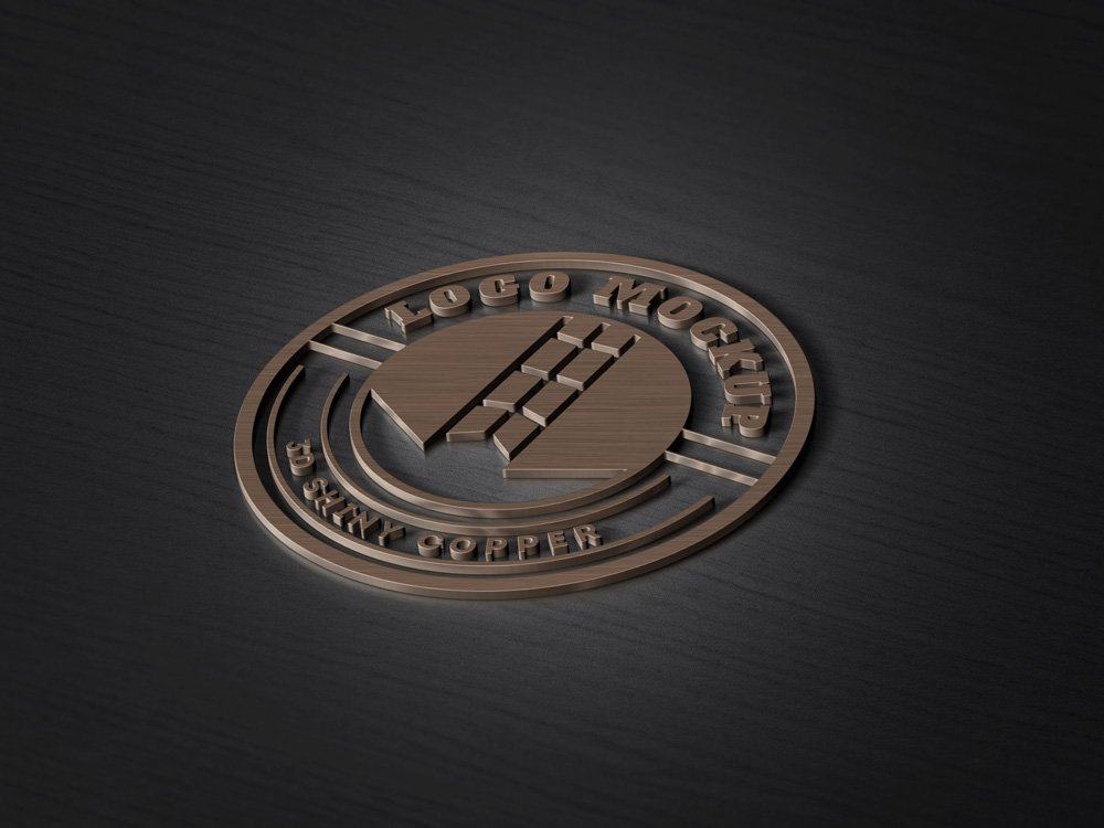 3D Copper Logo MockUp PSD Template