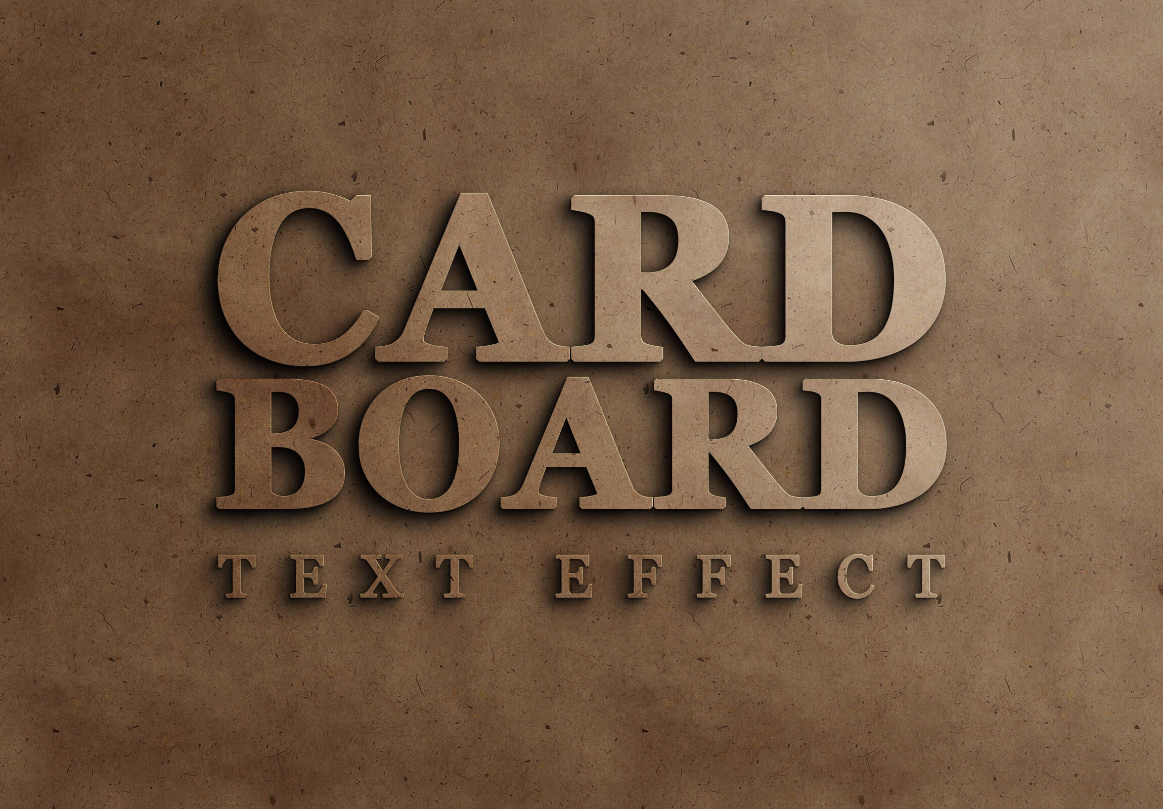 Cardboard free text effect psd download