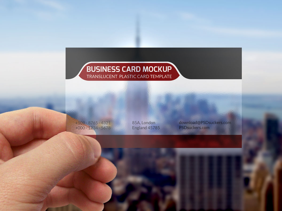 Translucent Plastic Business Card MockUp