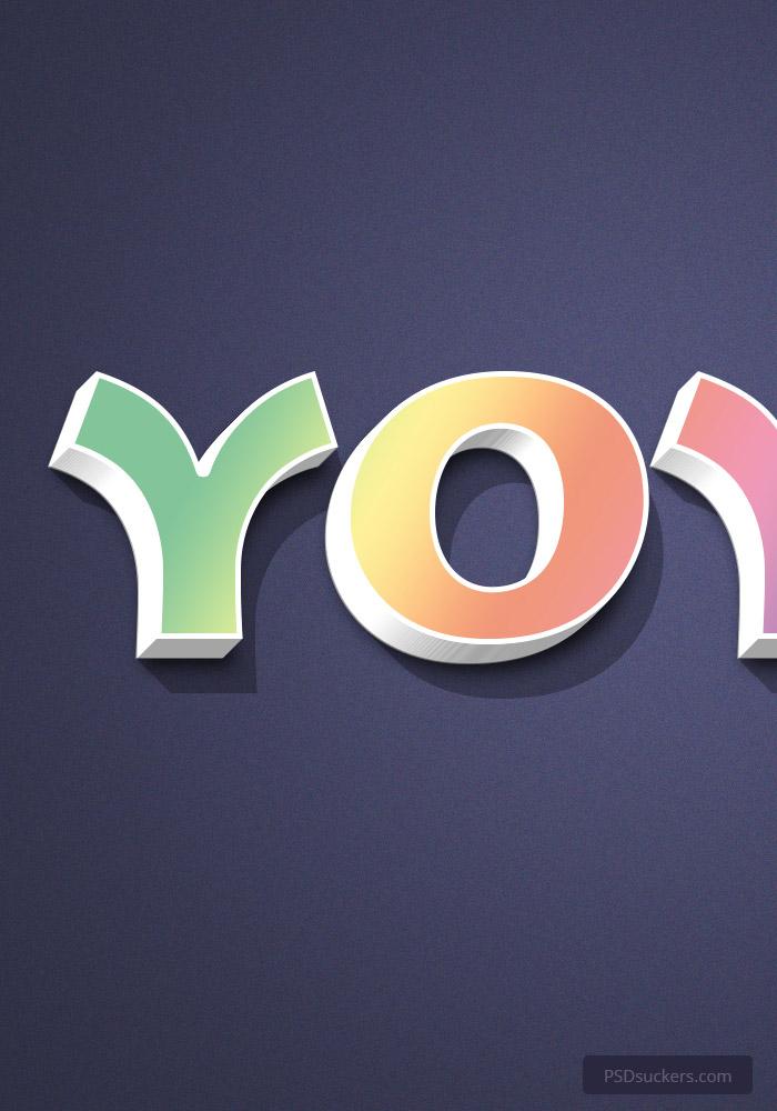 yoyo 3d text effect psd