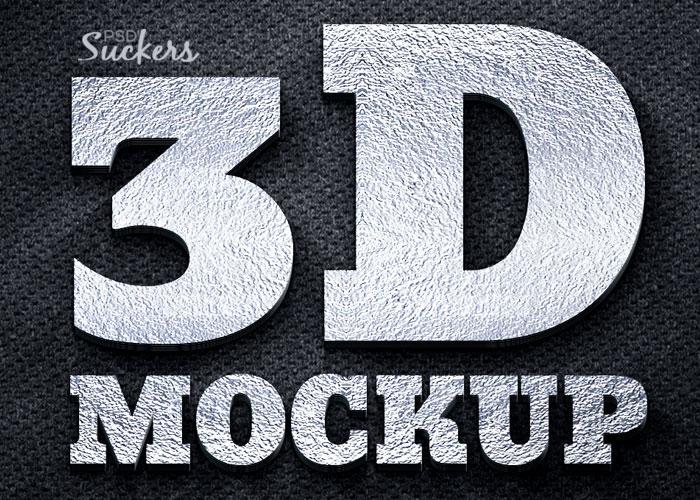 3d silver logo mockup psd template