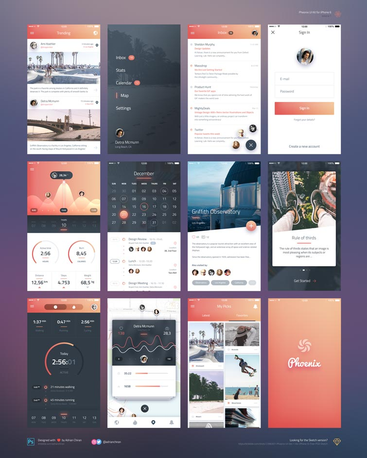 Phoenix UI kit free download photoshop psd iphone 6
