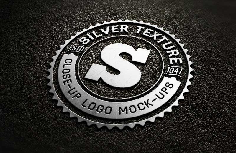 silver close up free logo mockup