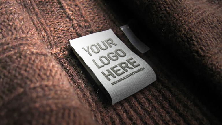 embossed clothing tag logo mockup