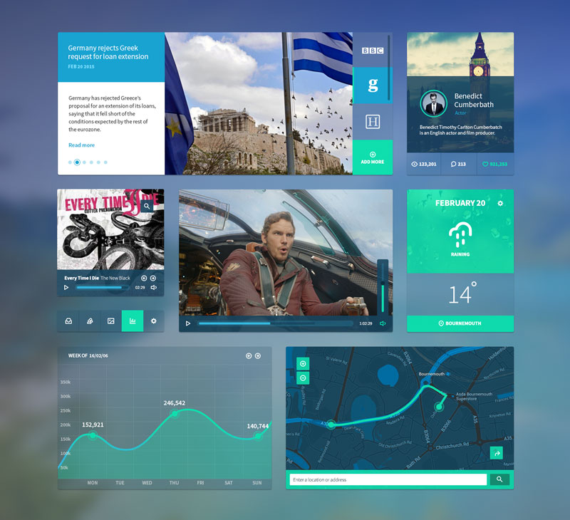 Free dashboard ui kit free PSD download