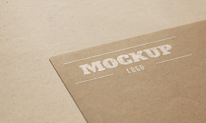cardboard embossed free logo mockup