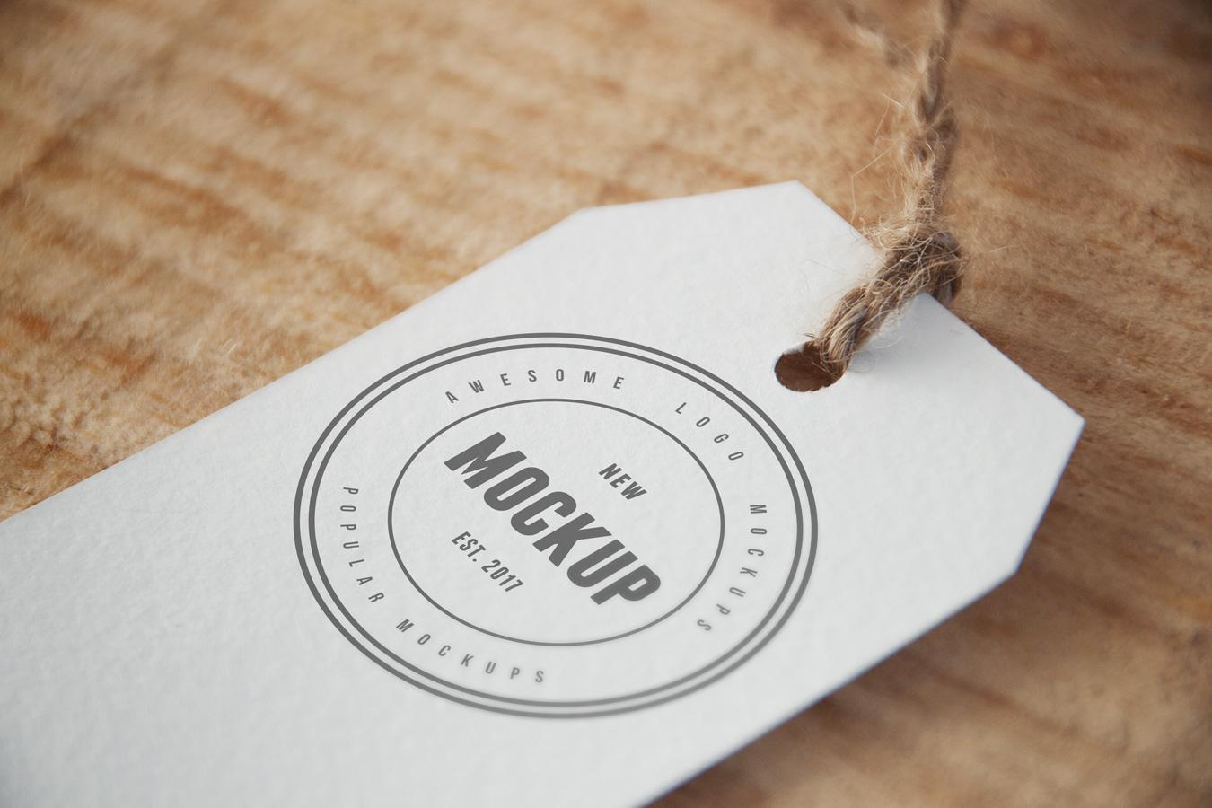 cloth tag free logo mockup