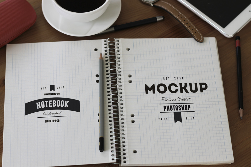 notebook amd sketch book PSD mockup free download