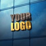 3d glass wall logo mockup psd template free download
